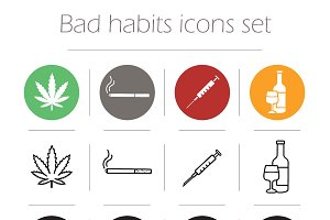 Bad habits. 12 icons set. Vector