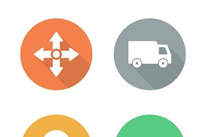 Delivery service. 4 icons. Vector