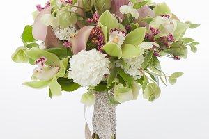 Cymbidum orchids bridal bouquet