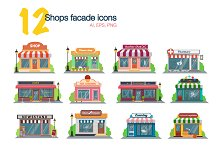 Store and shop facade flat icons