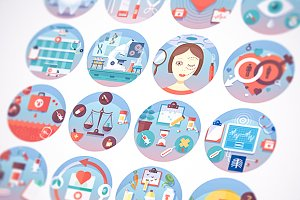 Medical flat circle icons set.