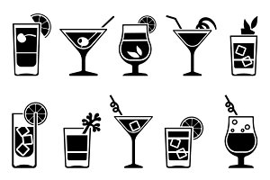 Cocktails and drinks icons