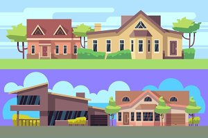 Banners set with residential houses
