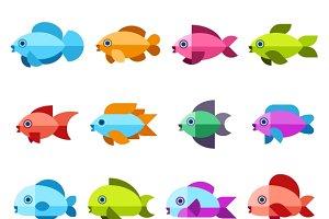 Fish vector flat icons set
