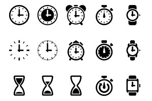 Clock, time vector icons
