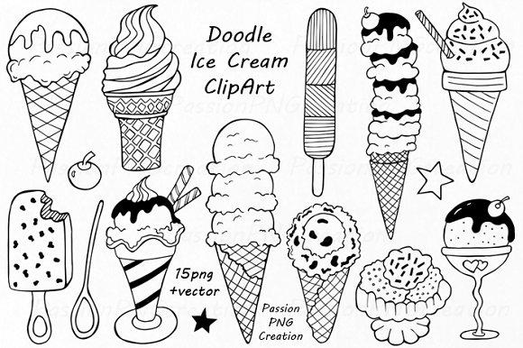 Big set of doodle sweets clipart illustrations creative market voltagebd Gallery
