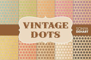 Digital Papers Vintage Polka Dots