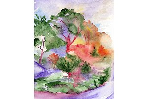 Watercolor fantasy forest landscape