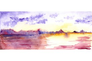 Watercolor purple sunset landscape