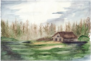 Watercolor fog house in forest