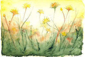 Watercolor yellow sunshine landscape