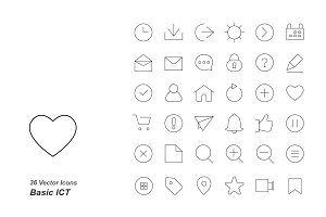 Basic ICT outlines vector icons