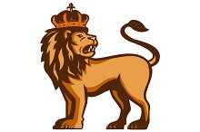 King Lion Crown Looking Side Retro