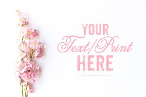 Blush Pink Flowers on White Mockup