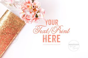 Pink Gold Desktop, Invitation Mockup