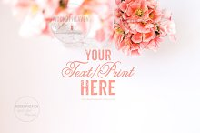 Pink Flowers White Desktop Mockup