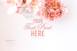 Pink Flowers White Desktop Mockup