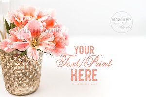 Pink Gold Stock, Table Card Mockup