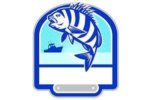 Sheepshead Fish Jumping Fishing Boat