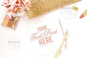 Pink Gold Feminine Desktop Mockup