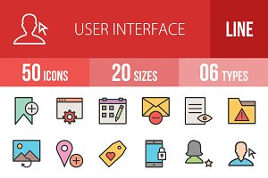 50 User Interface Line Filled Icons