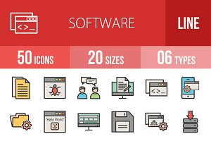 50 Software Line Filled Icons