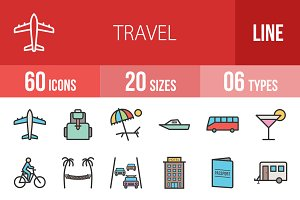 60 Travel Line Filled Icons