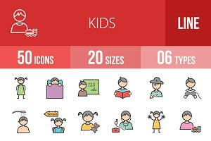 50 Kids Line Filled Icons