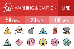 50 Warning Line Filled Icons