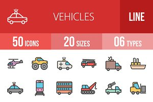 50 Vehicles Line Filled Icons