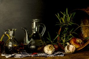 Extra virgin olive oil  still life