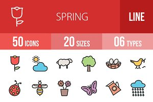 50 Spring Line Filled Icons