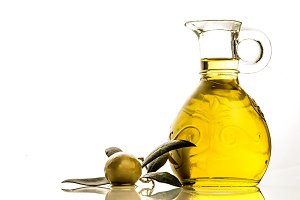 Extra virgin olive oil  jar isolated