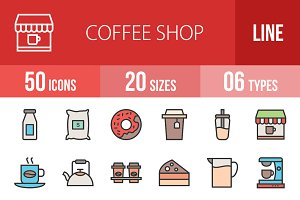 50 Coffee Shop Line Filled Icon