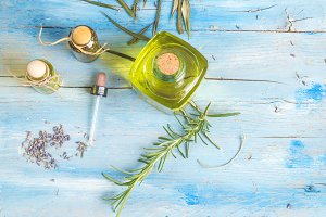 Essential oils, lavender, rosemary