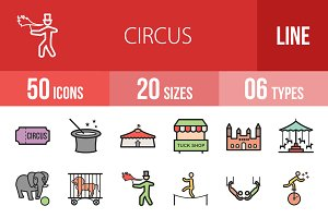 50 Circus Line Filled Icons