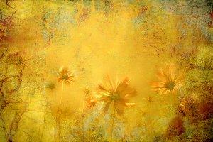 Romantic card grunge flowers