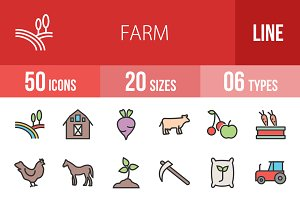 50 Farm Line Filled Icons