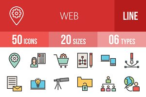 50 Web Line Filled Icons
