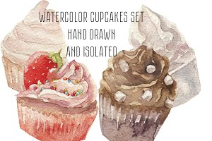 Watercolor cupcakes sweets set