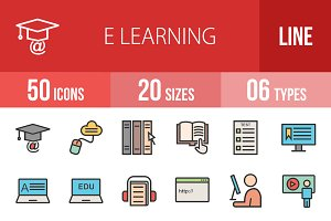 50 E Learning Line Filled Icons