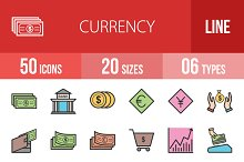 50 Currency Line Filled Icons