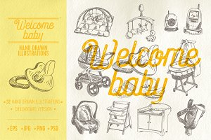 Welcome baby sketch illustrations