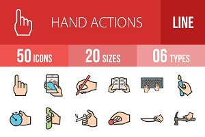 50 Hand Actions Line Filled Icons