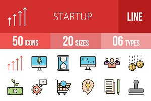 50 Startup Line Filled Icons
