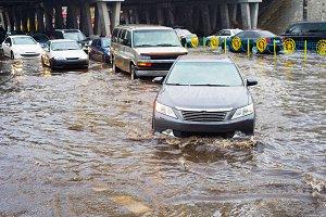 Flooded urban road