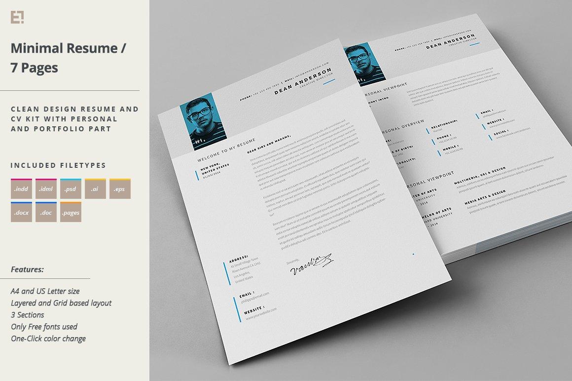 Resume - Portfolio - Letter ~ Resume Templates ~ Creative Market