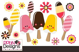 Popsicle Vectors and Clipart Set