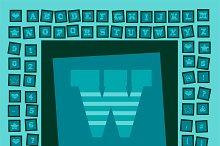 Pop art creative fonts light blue