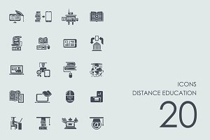 Distance education icons